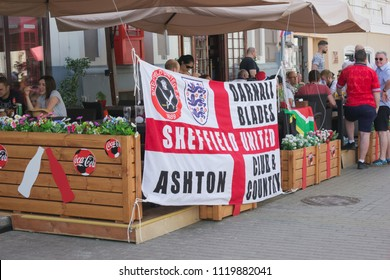 Nizhny Novgorod, Russia - June 24, 2018: It one of the cities of the World Cup 2018 in Russia. English fans spend time in anticipation of the match