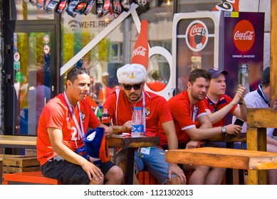 NIZHNY NOVGOROD. RUSSIA. JUNE 24, 2018. FIFA-2018. Fans from England have a rest in cafe