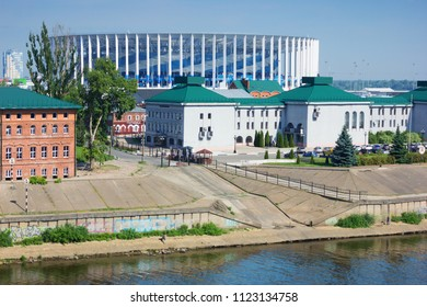 Nizhny Novgorod, Russia - June 24, 2018: For world Cup built a stadium on banks of Volga river