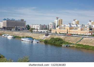 Nizhny Novgorod, Russia - June 24, 2018: One of the cities of the World Cup 2018. View from the Oka river to the fair house