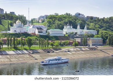 Nizhny Novgorod, Russia - June 24, 2018: Church on banks of the Oka River. In  old Nizhny Novgorod, a lot of churches and monasterie