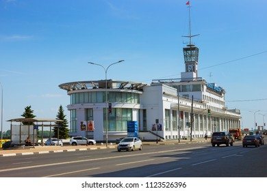 Nizhny Novgorod, Russia - June 24, 2018: River station on the embankment of the Volga, traffic transport