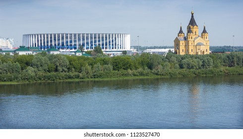 Nizhny Novgorod, Russia - June 24, 2018: For the world Cup built a stadium on the banks of the Volga river