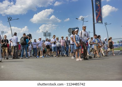 Nizhny Novgorod, Russia - June 24, 2018: It one of the cities of the World Cup 2018 in Russia. Fans from different countries rush to the stadium