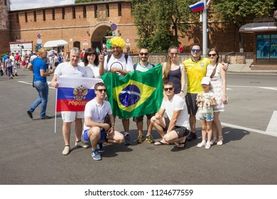 Nizhny Novgorod, Russia - June 24, 2018: Football fans from the different countries on streets of Nizhny Novgorod where there takes place the 2018 FIFA World Cup