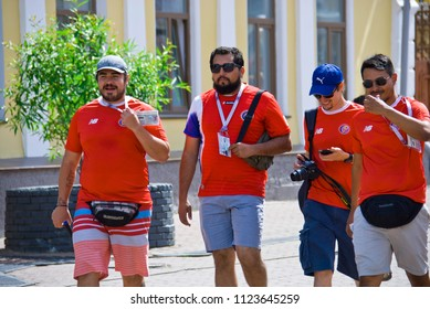 NIZHNY NOVGOROD. RUSSIA. JUNE 27, 2018. FIFA-2018. Fans from Costa Rica walk on the city