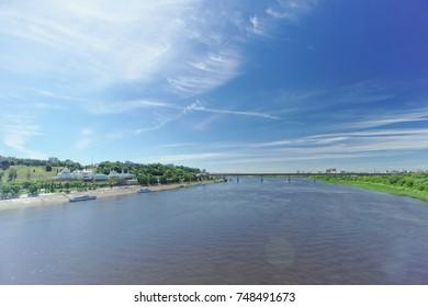 Nizhny Novgorod, Russia. - June 30.2016. View from the Kanavinsky bridge to the Oka and Metro bridge.