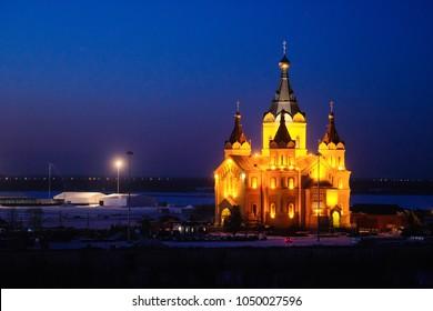 Nizhny Novgorod, Russia - March, 10, 2018: chuech in Nizhny Novgorod in winter at sunset