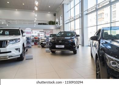 Nizhny Novgorod, Russia - March 14, 2018: Cars in showroom of dealership Toyota in Nizhny Novgorodcity in 2018