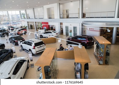 Nizhny Novgorod, Russia - March 14, 2018: Cars in showroom of dealership Toyota in Nizhny Novgorodcity in 2018. Top view