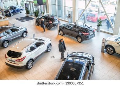 Nizhny Novgorod, Russia - March 14, 2018: Cars in showroom of dealership Nissan in Nizhny Novgorod in 2018. Top view