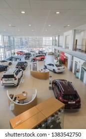Nizhny Novgorod, Russia - March 14, 2018: Cars in showroom of dealership Toyota in Nizhny Novgorod city in 2018. Top view