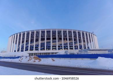 Nizhny Novgorod, Russia. - March 2.2018. Construction of the stadium in Nizhny Novgorod to the FIFA World Cup 2018.