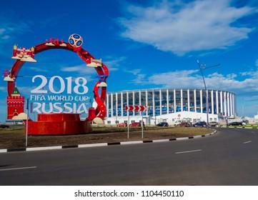 NIZHNY NOVGOROD, RUSSIA - MAY 29, 2018: View of the Nizhny Novgorod Stadium, one of the venues for the 2018 FIFA World Cup.
