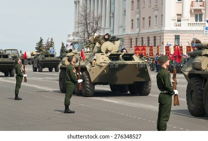 NIZHNY NOVGOROD, RUSSIA - MAY 4, 2015: Military vehicles on rehearsal of Military Parade commemorating the 70th anniversary Victory on Pozharsky and Minin Square