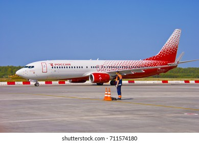 NIZHNY NOVGOROD. RUSSIA.SEPTEMBER 02, 2017. White-red Boeing 737-800