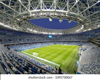 Nizhny Novgorod/Russia - July 04, 2018: The football stadium in Nizhny Novgorod is ready to World Cup FIFA 2018 in Russia, games: 18 finals Denmark - Croatia, 14 finals Uruguay - France