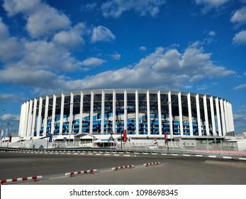 Nizhny Novgorod/Russia - July 04, 2018: The football stadium in Nizhny Novgorod is ready to World Cup FIFA 2018 in Russia, games: 1\8 finals Denmark - Croatia, 1\4 finals Uruguay - France
