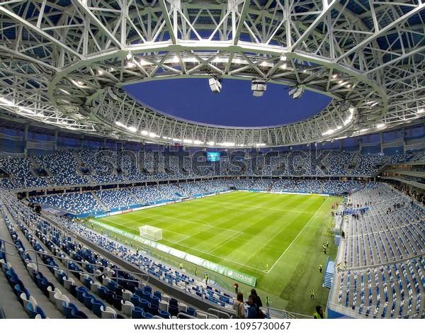 Nizhny Novgorod/Russia - June 11, 2019: The football stadium in Nizhny Novgorod. World Cup FIFA 2018 in Russia, UEFA Euro 2020 qualification, game Russia - Cyprus
