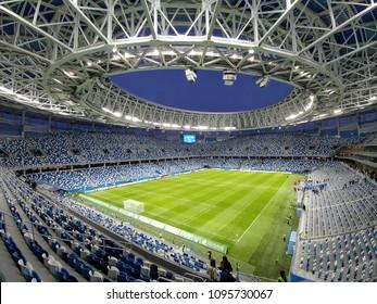 Nizhny Novgorod/Russia - June 18, 2018: The football stadium in Nizhny Novgorod is ready to World Cup FIFA 2018 in Russia,  games: Switzerland and Costa Rica, Argentina and Croatia, England and Panama