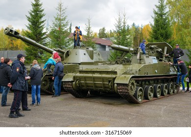 Nizhny Tagil, Russia - Sept 11, 2015:  Old tanks. History exhibition on 10 Anniversary International Exhibition of Arms, Military Equipment and Ammunition