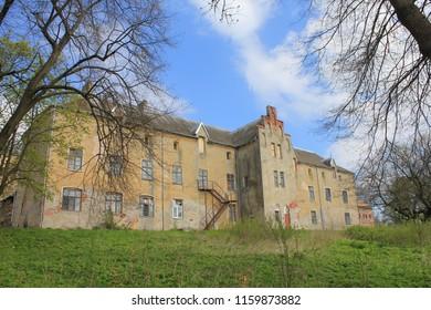 NIZOVYE, KALININGRAD OBLAST / RUSSIA - APRIL 26 2016: Prussian Waldau Castle in the Kaliningrad Oblast