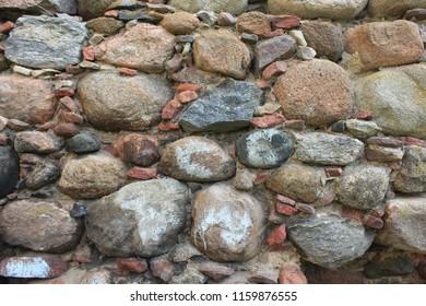 NIZOVYE, KALININGRAD OBLAST / RUSSIA - APRIL 26 2016: The old stone masonry of the Prussian Waldau Castle in the Kaliningrad Oblast