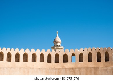 Nizwa Fort, Oman - February 7th 2018: Nizwa Fort is one of the most popular tourist attractions in Oman due to the fact that it is an amazing example of old Omani architecture.
