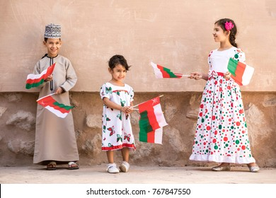 Nizwa, Oman, December 1st, 2017: omani children celebrating a national day