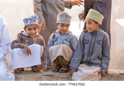 nizwa, Oman, December 1st, 2017: omani boys at the market