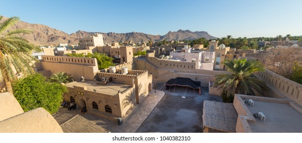 NIZWA, OMAN - NOVEMBER 27, 2017: View of Nizwa from the historic Fort, in Oman
