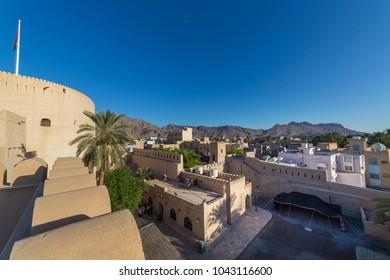 NIZWA, OMAN - NOVEMBER 27, 2017: View of Nizwa from the historic Fort, in Oman