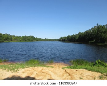 NJ, USA - May 2015. A scenic view of a tranquil lake in summer