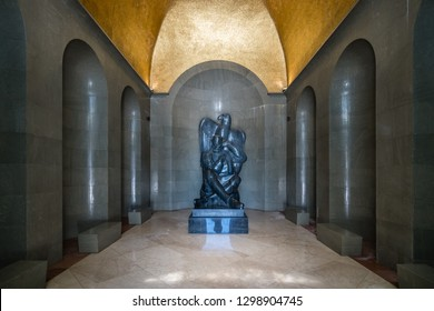Njegos statue inside a crypt in a mausoleum, created by famous sculptor Ivan Mestrovic, Loven National Park, Montenegro