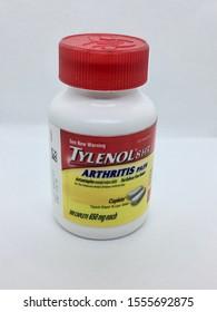 NJ/USA- November 6, 2019: A bottle of Tylenol for Arthritis Pain.