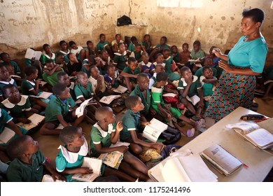 NKHOTAKOTA, MALAWI - JUNE 14, 2018: Unidentified students in a classroom of a primary school in Nkhotakota. Malawi is one of the poorest countries in the world.