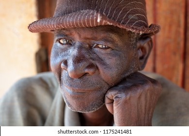 NKHOTAKOTA, MALAWI - JUNE 21, 2018: Unidentified old chief in a remote village near Ntchisi. Malawi is one of the poorest countries in the world.