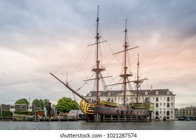 NLD, AMSTERDAM - JUL 11, 2017 - VOC ship at the harbor of Amsterdam