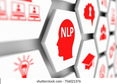 NLP head concept cell blurred background 3d illustration