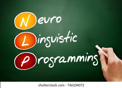 NLP - Neuro Linguistic Programming, acronym health concept on blackbord