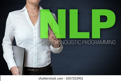NLP touchscreen is shown by businesswoman.