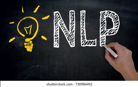 NLP is written by hand on blackboard.