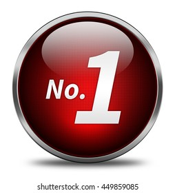 No 1 button isolated on white background. 3d render