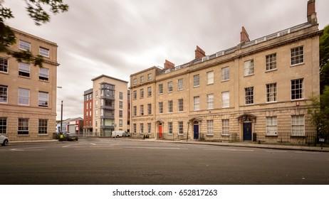 No 18-21 Portland Square Bristol England A Grade I listed building Long Exposure