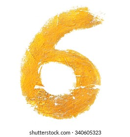 No. 6 gold on a white isolated.