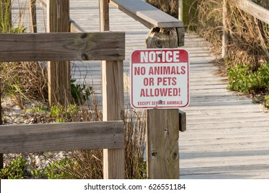 No animals sign on a boardwalk at a beach park.