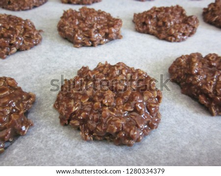 No bake cookies cooling on wax paper