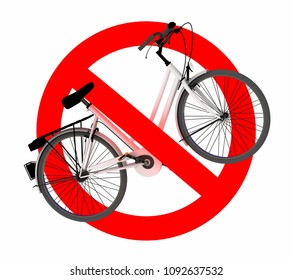 No bicycle traffic sign, 3d illustration