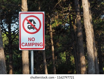 No camping sign among the trees, with the symbol of ban on camper and  tent.
