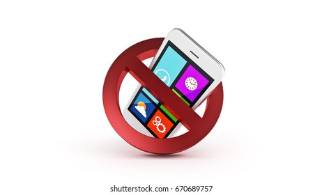No cell phone sign. 3d rendering
